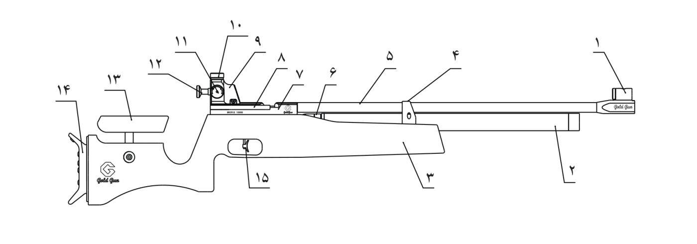 اجزای مختلف تفنگ گلدگان 600